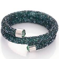 Green Pave Crystal Double Wrap Bracelet Bangle Full Crystal Dust Charm Bracelet