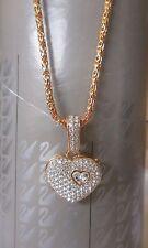 NWT Genuine Swarovski Swan Logo Pave Crystal HEART Locket Necklace Valentines