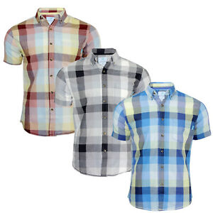Men's Short Sleeve Slim Fit Button Down Check Cotton Shirts For Casual Wear