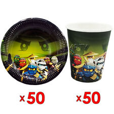 50pcs Paper Plate And 50pcs Cup Ninjago Theme Birthday Party Tableware Set