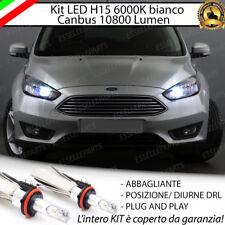 KIT LED H15 CANBUS LUCI DIURNE  + ABBAGLIANTI 6000K FORD FOCUS MK3 10800 LUMEN