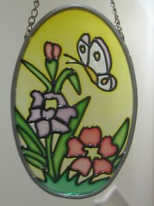 Coloured Glass Floral Mobile with Butterfly