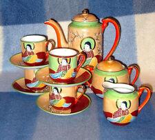 "11 PIECE VINTAGE JAPANESE ""GENUINE SAMURAI CHINA"" HAND PAINTED TEA SET PERFECT"