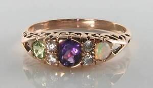 9K 9CT ROSE GOLD SUFFRAGETTE AMETHYST PERIDOT OPAL DIAMOND ART DECO INS RING