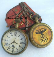 Antique Brass Pocket Watch Berlin 1936 Watch Gift for men, Olympic Gift,