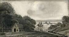 SHIPS IN BAY VICTORIAN Miniature Painting c1860 SEASCAPE