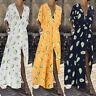 ZANZEA Womens Floral Long Sleeve V Neck Dress Ladies Loose Kaftan Maxi Dresses