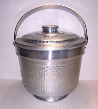 Vintage Ice Bucket Hammered Aluminum Mid Century Italy Double Walled Aluminium