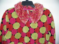 HANNA ANDERSSON Women's S Pink FLEECE Multi-Color Polka Dots Zip Sweater Jacket
