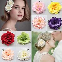 Boho Blooming Rose Hair Flower Bridal Brooch Wedding Party Bridesmaid Hair Clip
