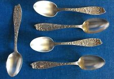 5 Ornate Bessie By Wallace Sterling Silver Demitasse Coffee Espresso Spoons