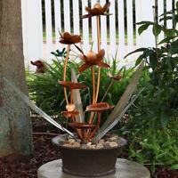 "Sunnydaze Copper Flower Blossoms Outdoor Water Fountain 28"" Garden Water Feature"