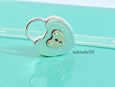 Tiffany & Co Sterling Silver 18k Rose Gold Heart Key Hole Charm Pendant  20624H