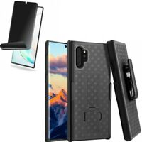 Galaxy Note 10 Plus Holster Case Belt Clip w TPU Film Privacy Screen Protector