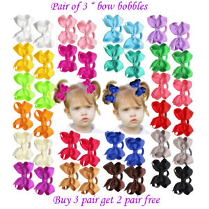 "3"" Bow Hair inch cute Clips Girls Baby Kids Elastic Bobbles School Quality Bows"