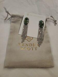 Kendra Scott Deanna Drop Earrings (Rhodium African Turquoise) NWT $88