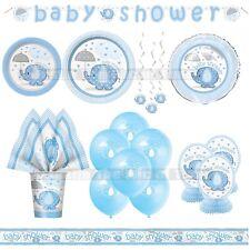 Baby Shower Boy Elephants Tableware Blue Party Supplies Boys Umbrellaphants
