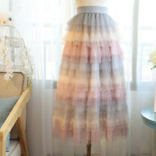 Women Lolita Rainbow Tiered Skirt Tutu Tulle Pettiskirt Swing Cute Kawaii Sweet