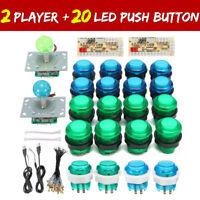 2 Players DIY Arcade Joystick Kit PC Game USB Controller LED Push Button Cables