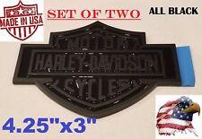 -=TWO=- ALL BLACK Harley Davidson Adhesive Backed Emblem Medallion Fuel Gas Tank