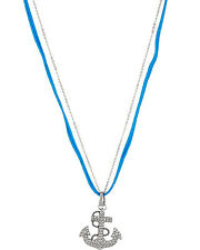 BETSEY JOHNSON ANCHOR PAVE 3 WAY CHARM NECKLACE NWT
