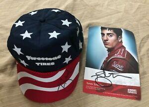 Vintage Firestone Tires USA Flag Stars Stripes Trucker Hat signed Tomas scheckte
