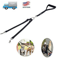 Reflective Double Dog Leash No Tangle with Handle Dual Nylon Lead for Walking
