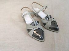 NEW Maison Martin Margiela gunmetal silver grey light mint flat sandals 37 4
