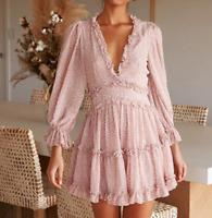 Womens Bohemia Floral Printed V Neck Long Sleeves Ruffles Summer Tiered Dress