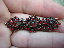 ANTIQUE VICTORIAN DEEP RICH RED BOHEMIAN GARNET BROOCH PIN TLC