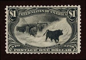 GENUINE SCOTT #292 F-VF MINT OG LH 1898 CATTLE IN STORM $1 TRANS-MISS EXPO ISSUE
