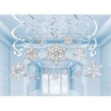30 Christmas Snowflake Paper Foil Swirls Frozen Winter Wonderland  Decoration