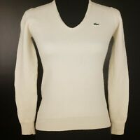 Lacoste Womens Jumper 40 White Wool Pullover Sweater Knit V-Neck