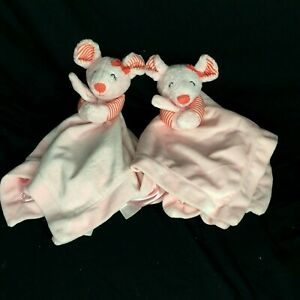 Lot of 2 CARTER'S Pink Mouse Security Blanket Lovey Rattle Satin Red Bow Striped