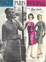 1965 Vintage VOGUE Sewing Pattern DRESS /& COAT B32 1422 Pierre Cardin