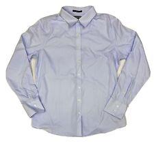 Lands End Women's No Iron Supima Cotton Long Sleeve Button-Up Shirt Blue 464705