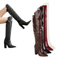 Runway Women Ladies Block Heel Patent Leather Punk Overknee Long Boots 44/48 L
