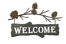 Rustic Welcome Sign Front Door Outdoors Home Metal Art Country Log Cabin Decor