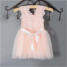 Summer Flower Girl Princess Dress Kid Baby Party Wedding Lace Tulle Tutu Dresses