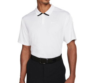 Nike Golf Polo Mens Authentic Dri Fit Vapor Quick Dry Stretch Short Sleeve White