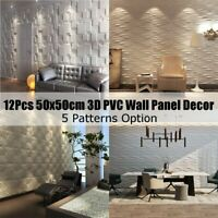 20X20'' 12Pcs 3D PVC Wall Panel Flame Retardant Waterproof Wallpaper Home Decor