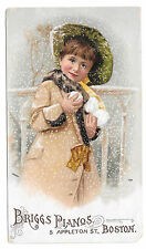 Victorian Trade Card Briggs Pianos Boston MA Pretty Girl Snowballs Winter 1909