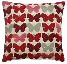 """RED CREAM BUTTERFLY LUXURIOUS THICK CHENILLE CUSHION COVER 17"""" - 43CM"""