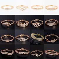 Women Bangle 18K Rose Gold Plated Australian Crystal Rhinestone Bracelet Cuff