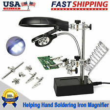 Helping Hand Soldering lron w/ Magnifier Magnifying Glass Lens LED Light Stand