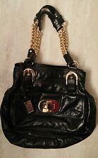 Badgley mischka black gold chain leather purse