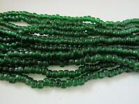 Green Translucent Glass Crow Pony Beads Jewelry Craft Bead 100 pcs 9 x 6MM