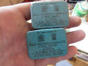 2 vintage hardy alnwick fishing tackle split shot tins vesta cases