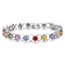 GORGEOUS 18K WHITE GOLD PLATED & GENUINE MULTI-COLOURED CUBIC ZIRCONIA BRACELET