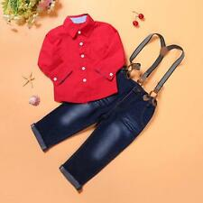 Toddler Kids Baby Boys T-Shirt Tops +Braces Trousers Overall Outfits Clothing